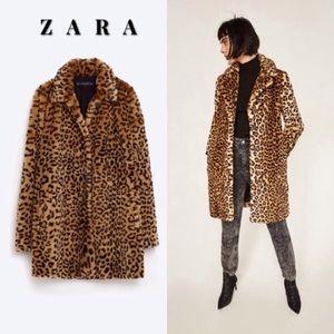 Zara Faux Leopard Coat- BNWOT